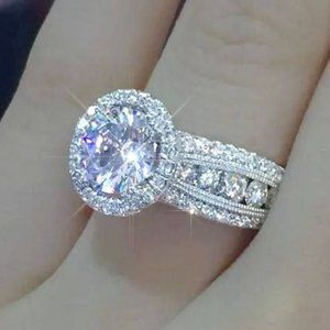 NEW 925 Sterling Silver Round Diamond Halo Ring